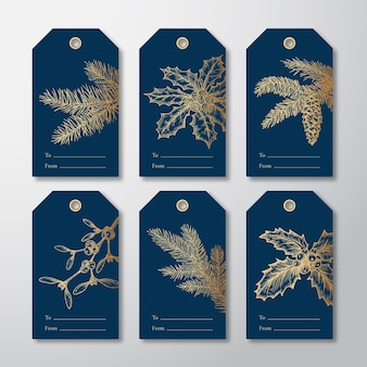 Christmas and new year readytouse gift tags or labels templates set hand drawn firneedle pine branch...