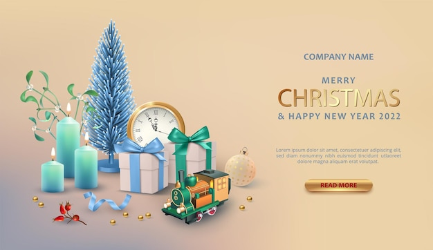 Christmas and new year realistic background with christmas tree gift box and toy train
