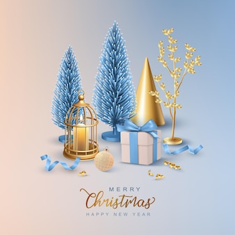 Christmas and new year realistic card