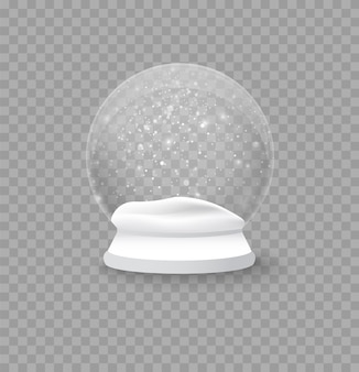 Christmas and new year realistic snow ball, xmas magical sphere. winter in a glass ball, a crystal dome with a snowflake. empty snow globe isolated on a transparent background.
