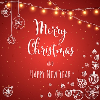 Christmas and new year red background greeting card with lettering vector illustration