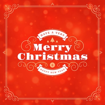 Christmas and new year retro typography label and lights
