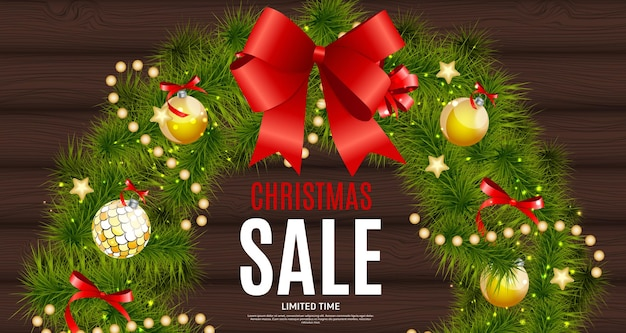 Christmas and new year sale background, discount coupon template. vector illustration eps10 Premium Vector