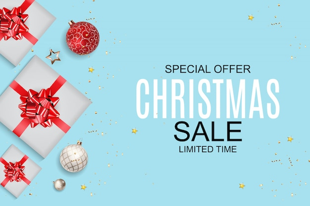 Christmas and new year sale background, discount coupon template.