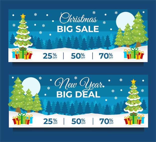 Christmas and new year sale banner template with christmas tree red background