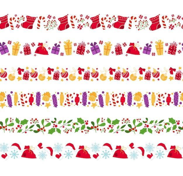 クリスマス新年シームレスボーダー、キャンディケイン、ヒイラギ、お菓子、ヤドリギ、ヒイラギ、白地にスノーフレーク