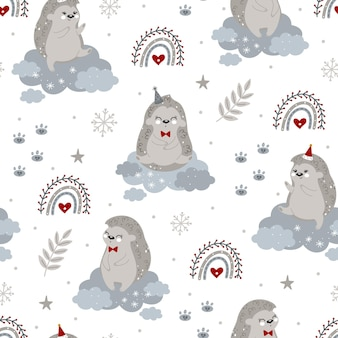 Christmas and new year seamless patter with christmas hedgehogs and winter elements