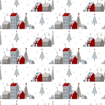 Christmas and new year seamless patter with christmas winter elements
