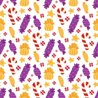 Christmas or new year seamless pattern - candy cane, sweets, lollipops on white background