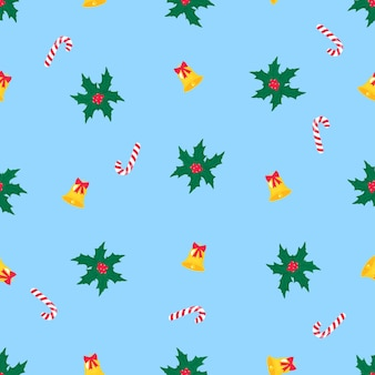 Christmas and new year seamless pattern, digital paper. mistletoe, lollypop and bell.