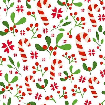 Christmas or new year seamless pattern, floral ornament - mistletoe, holly, candy canes background