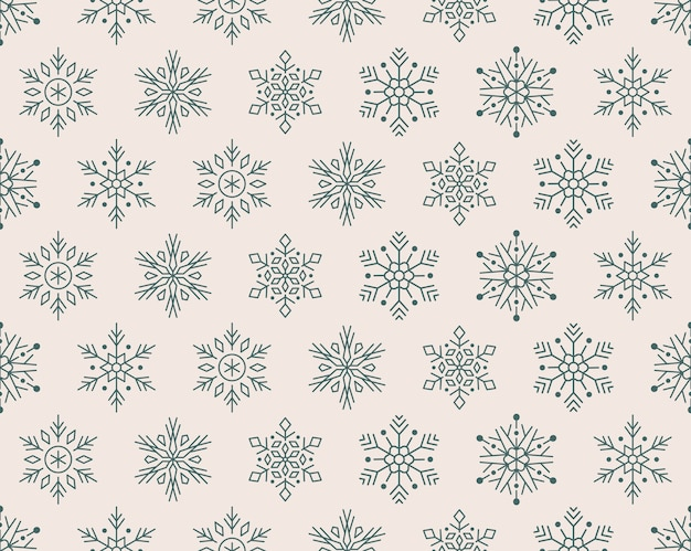 Christmas, new year seamless pattern, snowflakes icons.