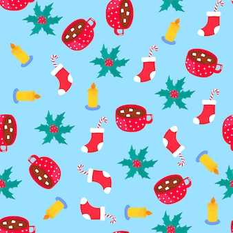 Christmas and new year seamless pattern, wrapping paper.