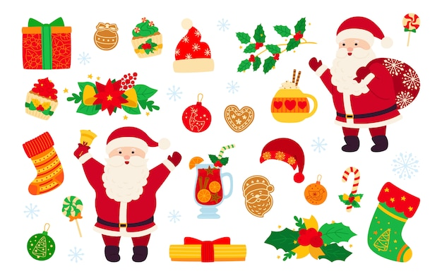 Christmas and new year set. holly cupcake, bell, cup, hat, santa and cookies gift, mulled wine. flat cartoon design elements. new year, christmas objects collection. isolated illustration