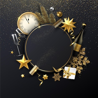 Christmas and new year shiny  template with round frame golden christmas decorations gift champagne and clock