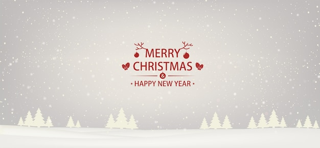 Christmas and  new year snowbound white background with christmas trees.