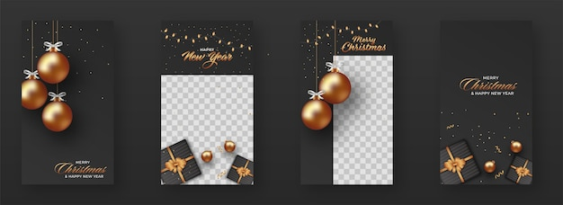 Christmas and new year social post with golden balls
