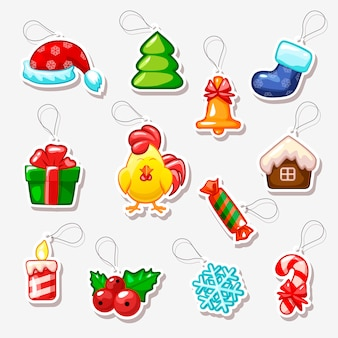 Christmas and new year stickers, holiday symbols