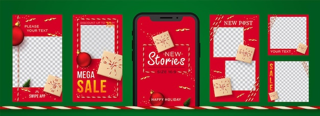 Christmas and new year stories set for social networks