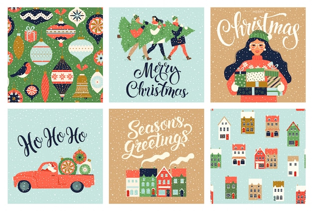 Christmas and new year template set for greeting scrapbooking, congratulations, invitations, tags, stickers, postcards. christmas posters set.  illustration.