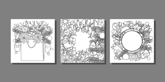 Christmas and new year templates set for greeting cards and covers