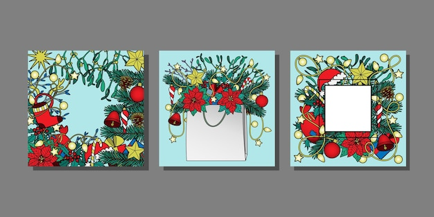 Christmas and new year templates set winter holiday mock ups for greeting cards and covers