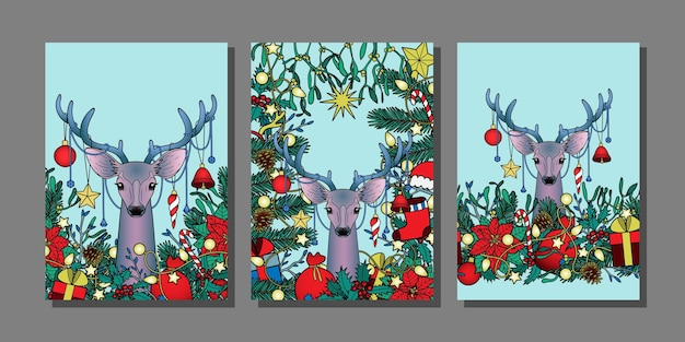 Christmas and new year templates set with deer winter mock ups for greeting cards and covers