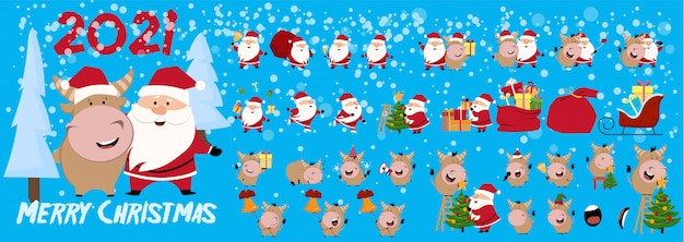 Christmas or new year tree. cute ox, cow, bull. 2021 winter background with cow. ox horoscope sign. chinese year of ox 2021.