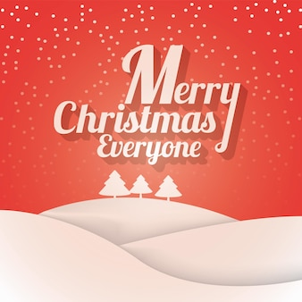 Christmas and new year typographical on shiny background with winter landscape with snowflakes