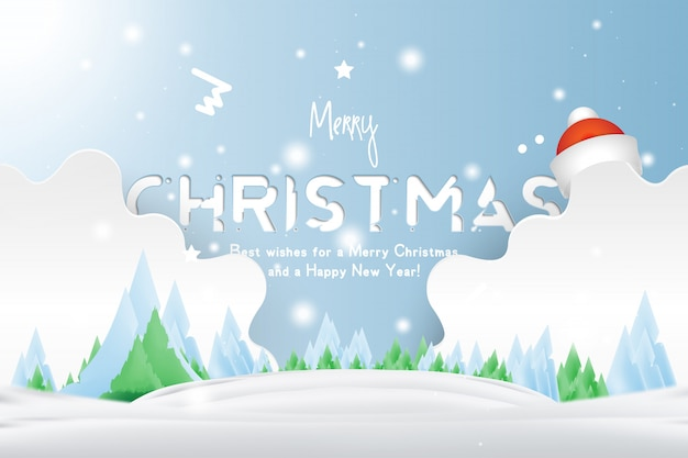 Christmas and new year typography with red hat on background with winter landscape with shiny xmas light and stars.