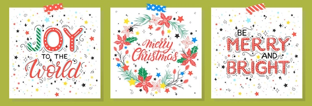 Christmas and new year typographyset of holidays cards with greetings and stars