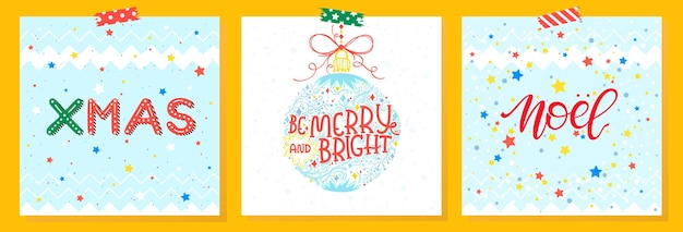 Christmas and new year typographyset of holidays cards
