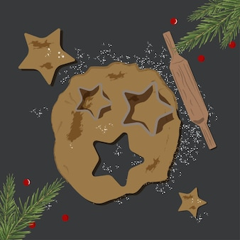 Christmas and new year vector cooking background. flat gingerbread illustration. party backdrop. holiday cartoon pattern. traditional winter celebration.