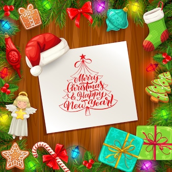Christmas and new year vector greeting card with frame of xmas tree and gifts on wooden background.