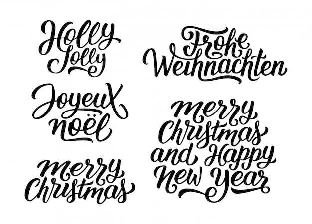 Christmas and new year vector lettering set