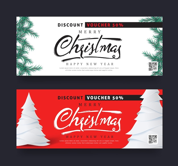 Christmas and new year voucher discount template