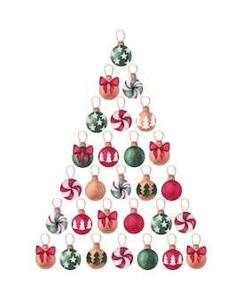 Christmas and new year watercolor design with pine tree balls