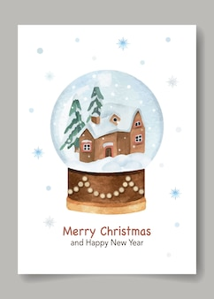 Christmas and new year watercolor postcard with snowball globe and snowflake
