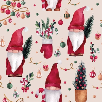 Christmas and new year watercolor seamless pattern with cute gnome, mitten and pine tree balls