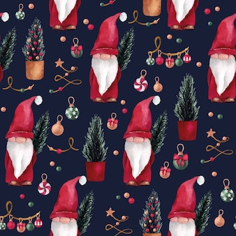 Christmas and new year watercolor seamless pattern with cute gnome with cute gnome, and pine trees