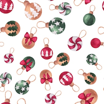 Christmas and new year watercolor seamless pattern with pine tree balls