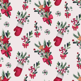 Christmas and new year watercolor seamless pattern with socks, bouquets and mitten