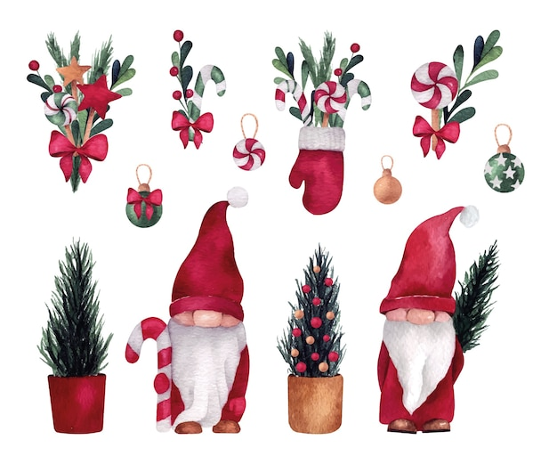 Christmas and new year watercolor set with cute gnome and pine trees