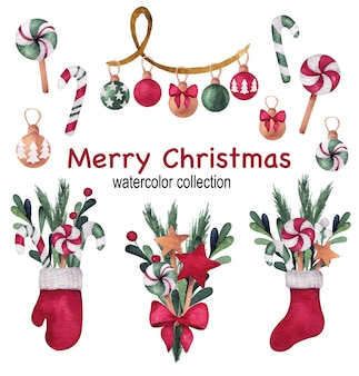 Christmas and new year watercolor set with socks, bouquets, mitten and pine tree balls