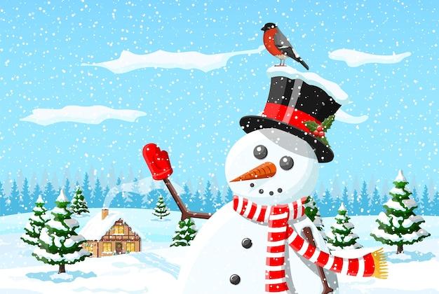 Рождество новый год зимний пейзаж
