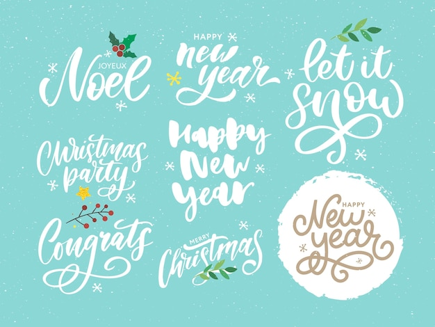 Christmas, new year, winter lettering greeting set