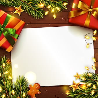 Christmas or new year with blank paper.