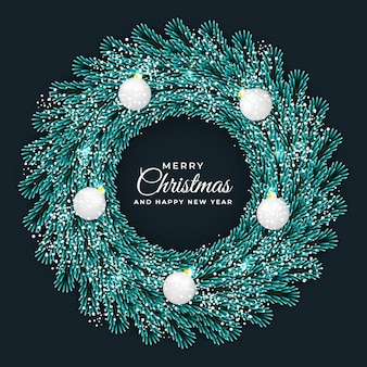 Christmas and new year wreath circle frame green leaf and dark background