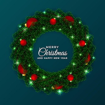 Christmas and new year wreath circle frame template