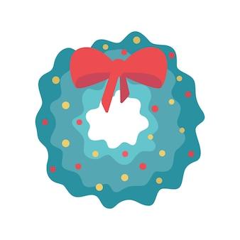 큰 붉은 활과 장식이 있는 벡터 플랫 스타일의 크리스마스 새해 화환.